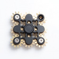 9-Gear Steampunk Hand Spinner Fidget Toy Focus EDC for ADHD / Anxiety / OCD Sufferers - Black, Aluminum + Brass
