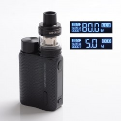 Authentic Vaporesso SWAG II 80W VW Box Mod w/ NRG PE Tank Atomizer Kit - Black, 3.5ml, 5~80W, 1 x 18650