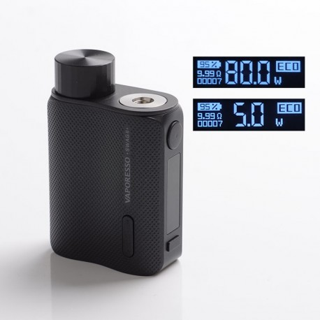 Authentic Vaporesso SWAG II 2 80W Variable Wattage Box Mod - Black, 5~80W, 0.03~5.0ohm, 1 x 18650