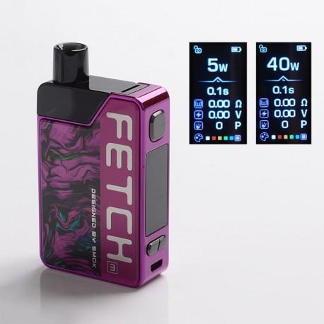 Authentic SMOKTech SMOK Fetch Mini 40W 1200mAh VW Box Mod Pod System Vape Starter Kit - Acrylic Fluid Purple, 3.7ml, 5~40W