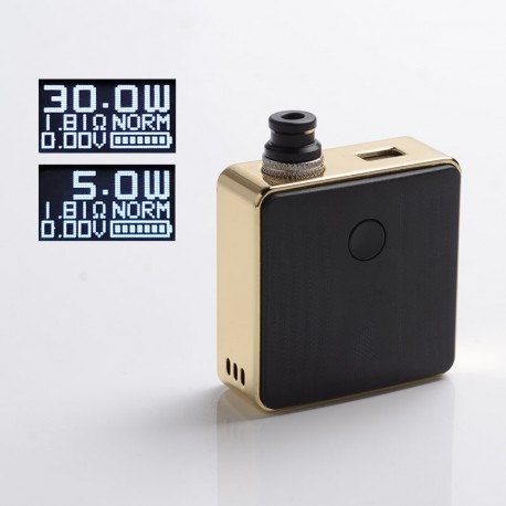 Authentic SXK Bantam Revision 30W VW Variable Wattage Box Vape Mod Kit w/o 18350 - Gold Plating, 5~30W, 1 x 18350, SEVO-30