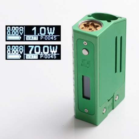 SXK SB E8 Mnraker Style 70W Sliding VW Box Vape Mod Compatible with 22mm Diameter Atomizer - Green, 1~70W, SEVO 70W, 1 x 18650