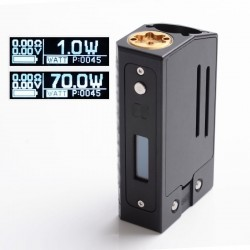 SXK Sunbox E8 Moonraker Style 70W Sliding VW Vape Box Mod Compatible with 22mm Atomizer - Black, 1~70W, SEVO 70W, 1 x 18650