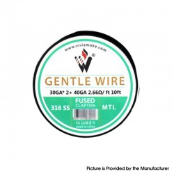 Authentic Vivismoke Gentle Fused Clapton MTL 316SS Heating Wire - Silver, 30GA x 2 + 40GA, 2.66ohm / ft, 10ft (3 Meters)