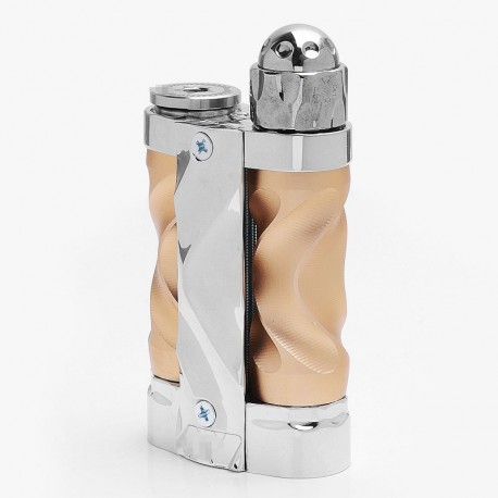 Avid Lyfe Fast Twist Gyre Style Vape Mechanical Box Mod - Golden, Aluminum + Stainless Steel, 2 x 18650