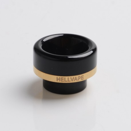 Authentic Hellvape Dead Rabbit V2 RDA Vape Atomizer Replacement Ag+ Anti-bacterial 810 Drip Tip - Classic Black, Resin