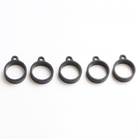 Replacement Neutral Silicone Ring with Lanyard Connector for E-Cigarette / Pod Kit / Vape Mod Kit - Black, 20mm Diameter (5 PCS)