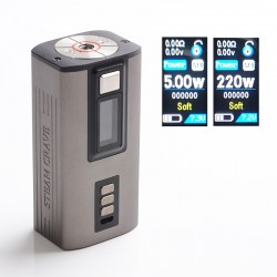 Authentic Steam Crave Hadron 220W TC VW Variable Wattage Vape Box Mod - Gun Metal, 2 x 18650 / 21700