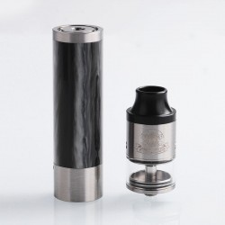 Authentic Steel Vape Tailspin Hybrid Mechanical Mod + RDTA Vape Kit - Silver, Brass + Stainless Steel, 1 x 18650, 4ml, 25mm Dia.