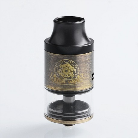 Authentic Steel Vape Tailspin RDTA Rebuildable Dripping Tank Vape Atomizer - Gold, Stainless Steel, 4ml, 25mm Diameter