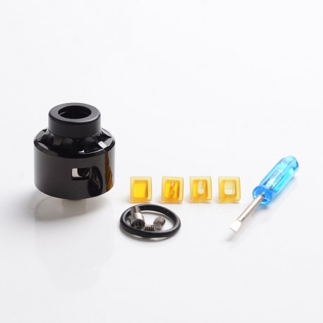 Vapeasy Vauban Style RDA Rebuildable Dripping Vape Atomizer w/ BF Pin - Black, 316 Stainless Steel + PEI, 22mm Dia.