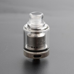 Authentic Gas Mods Kree RTA Rebuildable Tank Vape Atomizer w/ A Spare PC Tank Tube - Silver, 3.5ml, SS + Glass, 22mm Diameter