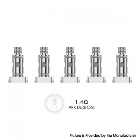 Authentic VOZOL Ark Pod System Vape Kit / Cartridge Replacement MTL Dual Coil Head - Silver, 1.4ohm (5 PCS)