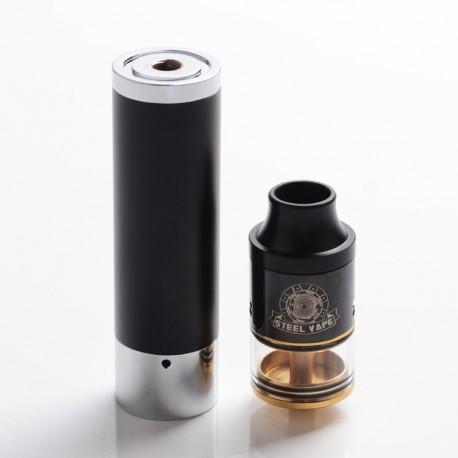 Authentic Steel Vape Tailspin Hybrid Mechanical Mod + RDTA Vape Kit - Black, Brass + Stainless Steel, 1 x 18650, 4ml, 25mm Dia.