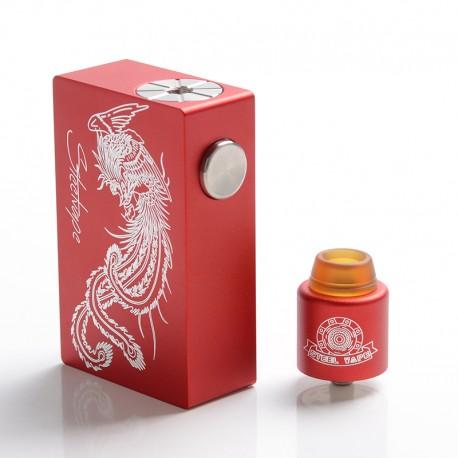 Authentic Steel Vape Phoenix Mechanical Squonk Box Mod + RDA Vape Kit - Red, 7.5ml, 1 x 18650 / 20700, 24mm Diameter