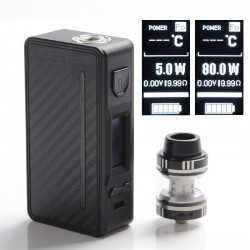 Authentic Steel Vape Aurora 80W VW Box Mod Vape Kit w/ Sub Ohm Tank Clearomizer - Black, SS + ABS, 3.0ml, 5~80W, 1 x 18650