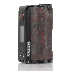 Authentic DOVPO Topside Dual Carbon 200W YIHI Chip TC VW Squonk Box Vape Mod - Carbon Red, Aluminum Alloy, 5~200W, 2 x 18650
