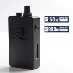 Authentic Mechlyfe Ratel XS 80W TC VV VW DL / MTL Rebuildable AIO Pod System Vape Kit - Black & Carbon Fiber, 5~80W, 1 x 18650
