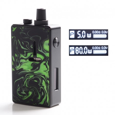 Authentic Mechlyfe Ratel XS 80W TC VW DL /MTL Rebuildable AIO Pod System Vape Kit - Black & Resin Green, 5.5ml, 5~80W, 1 x 18650