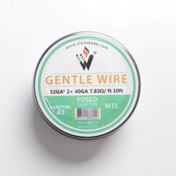 Authentic Vivismoke Gentle Fused Clapton MTL Kanthal A1 Heating Wire - Silver, 32GA x 2 + 40GA, 7.83ohm / ft, 10ft (3 Meters)