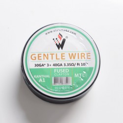 Authentic Vivismoke Gentle Fused Clapton MTL Kanthal A1 Heating Wire - Silver, 30GA x 3 + 40GA, 3.35ohm / ft, 10ft (3 Meters)