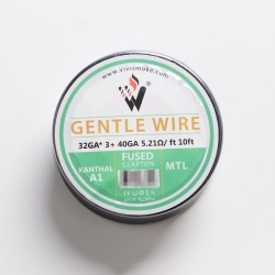 Authentic Vivismoke Gentle Fused Clapton MTL Kanthal A1 Heating Wire - Silver, 32GA x 3 + 40GA, 5.21ohm / ft, 10ft (3 Meters)