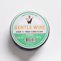 Authentic Vivismoke Gentle Fused Clapton MTL 316SS Heating Wire - Silver, 32GA x 2 + 40GA, 4.18ohm / ft, 10ft (3 Meters)