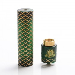 Authentic Steel Vape Sebone Hybrid Mechanical Mod + RDA Vape Kit - Green, Brass, 1 x 18650, 24mm Diameter
