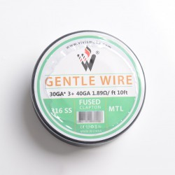 Authentic Vivismoke Gentle Fused Clapton MTL 316SS Heating Wire - Silver, 30GA x 3 + 40GA, 1.89ohm / ft, 10ft (3 Meters)