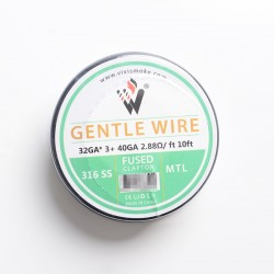 Authentic Vivismoke Gentle Fused Clapton MTL 316SS Heating Wire - Silver, 32GA x 3 + 40GA, 2.88ohm / ft, 10ft (3 Meters)