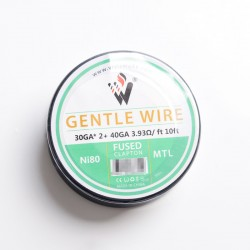 Authentic Vivismoke Gentle Fused Clapton MTL Ni80 Heating Wire - Silver, 30GA x 2 + 40GA, 3.93ohm / ft, 10ft (3 Meters)
