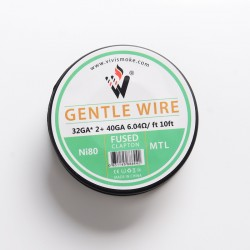 Authentic Vivismoke Gentle Fused Clapton MTL Ni80 Heating Wire - Silver, 32GA x 2 + 40GA, 6.04ohm / ft, 10ft (3 Meters)