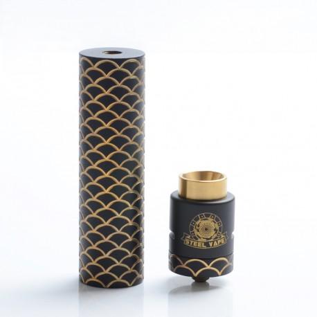 Authentic Steel Vape Sebone Hybrid Mechanical Mod + RDA Vape Kit - Black, Brass, 1 x 18650, 24mm Diameter