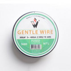 Authentic Vivismoke Gentle Fused Clapton MTL Ni80 Heating Wire - Silver, 30GA x 3 + 40GA, 2.59ohm / ft, 10ft (3 Meters)