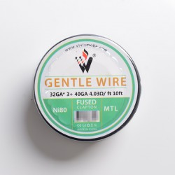 Authentic Vivismoke Gentle Fused Clapton MTL Ni80 Heating Wire - Silver, 32GA x 3 + 40GA, 4.03ohm / ft, 10ft (3 Meters)