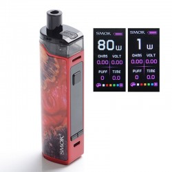 Authentic SMOKTech SMOK RPM80 Pro 80W VW Mod Pod System Vape Starter Kit w/ IQ-80 Chip - Red Stabilizing Wood, 1~80W, 1 x 18650