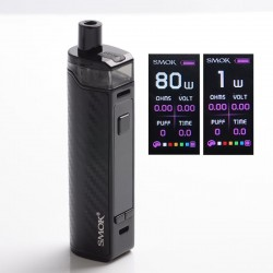 Authentic SMOKTech SMOK RPM80 Pro 80W VW Mod Pod System Vape Starter Kit w/ IQ-80 Chip - Black Carbon Fiber, 1~80W, 1 x 18650