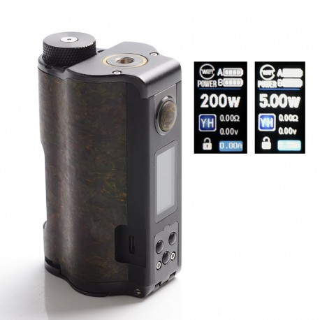 Authentic DOVPO Topside Dual Carbon 200W YIHI Chip TC VW Squonk Box Vape Mod - Carbon Rusty, Aluminum Alloy, 5~200W, 2 x 18650