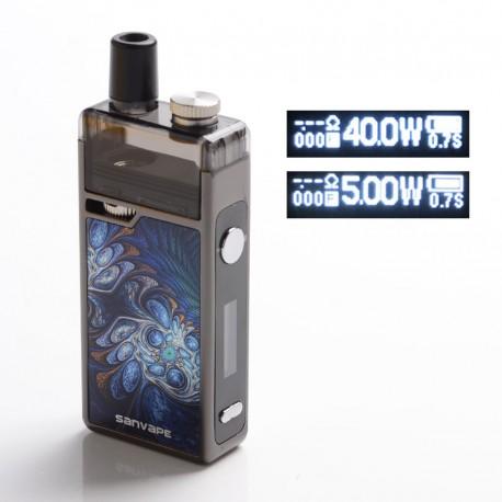Authentic Sanvape Q8 Pro 40W 1620mAh MTL / DTL VV VW Mod Pod System Vape Starter Kit - Blue, 0.4ohm / 1.2ohm, 4.5ml, 5~40W