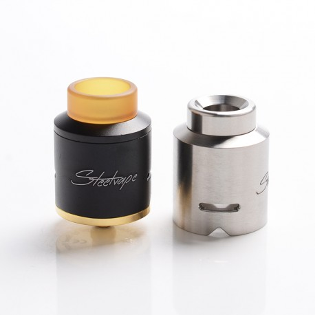 Authentic Steel Vape Compass RDA Rebuildable Dripping Vape Atomizer - Black, Stainless Steel + Aluminum, 25mm Diameter