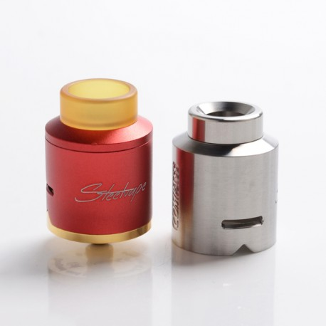 Authentic Steel Vape Compass RDA Rebuildable Dripping Vape Atomizer - Red, Stainless Steel + Aluminum, 25mm Diameter