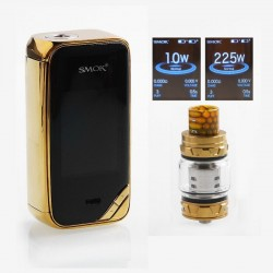 Authentic SMOKTech SMOK X-Priv 225W TC VW Box Vape Mod + TFV12 Prince Standard Kit - Prism Gold, 8ml, 1~225W, 2 x 18650