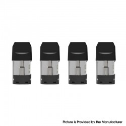 Authentic Augvape Air II Pod System Vape Kit Replacement Pod Cartridge w/ 1.3ohm OCC Coil - Black + Transparent, 1.7ml (4 PCS)