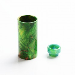 Authentic DEJAVU DJV Mod Replacement Stable Wood Sleeve + Resin Drip Tip - Green