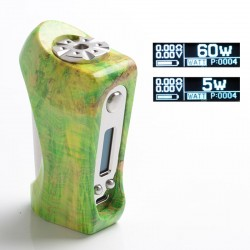 Authentic Ultroner Victory 60W VV VW Variable Wattage Box Mod - Green, Stabilised Wood + Stainless Steel, 5~60W, 1 x 18650