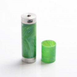 Authentic CoolVapor Takit Mini V2 Semi-Mechanical Mod - Silver + Green, Stainless Steel + Resin, 1 x 18350 / 18650