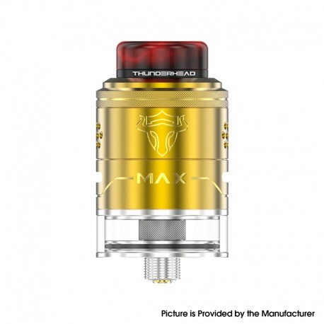 Authentic ThunderHead Creations THC Tauren Max RDTA Rebuildable Dripping Tank Vape Atomizer - Gold, SS, 2ml / 4.5ml, 25mm Dia.
