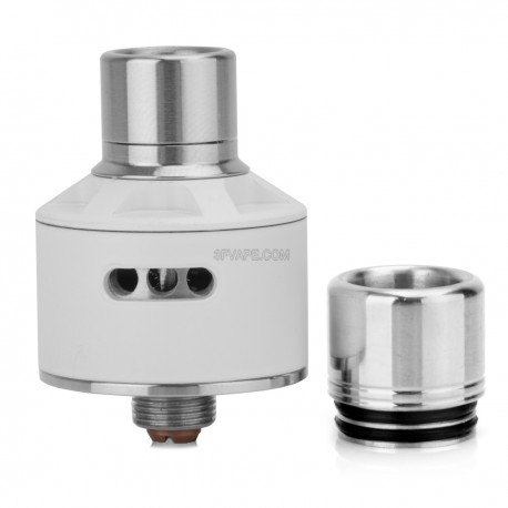 Stumpy Style RDA Rebuildable Dripping Atomizer - White, Stainless Steel, 22mm Diameter