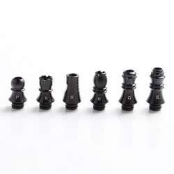 Authentic KIZOKU Chess Series Replacement 510 Drip Tip for RDA / RTA/ RDTA / Sub-Ohm Tank Atomizer - Black, Mixed 6 in 1 (6 PCS)