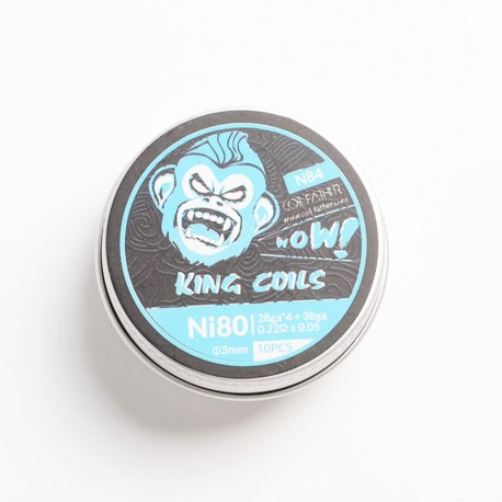 Authentic Coil Father N84 King Coils for RBA / RDA / RTA / RDTA - Ni80, 28GA x 4 + 38GA, 0.22 +/- 0.05ohm, 3mm, 5 Wraps (10 PCS)
